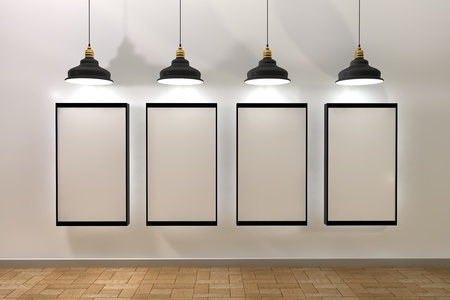 3d ilustración, carteles marco en blanco en la habitación con la lámpara de techo