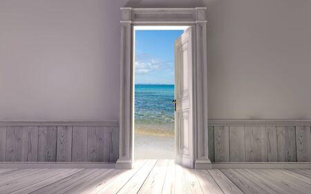 cielos abiertos: Renderizado en 3D de la sala vac�a, con puerta abierta