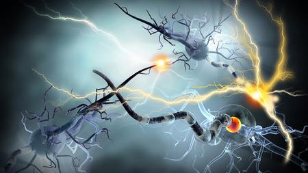 cellule nervose: Alta qualità di rendering 3d di cellule nervose, concetto per le Malattie Neurologiche, tumori e la chirurgia del cervello.