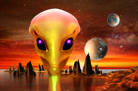 science fiction: 3d render of alien planet and alien. Elements of this image furnished by NASA
