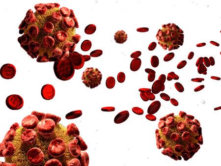 globulos blancos: Ilustración 3D de virus, células de las bacterias que infectan la sangre humana.
