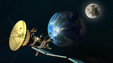 orbital spacecraft: satellite orbiting the earth. Elements of this image furnished by NASA.