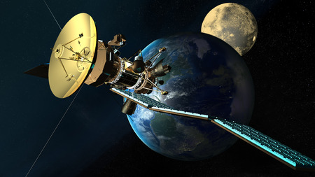 nasa: satellite orbiting the earth. Elements of this image furnished by NASA.