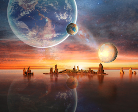 sci: Alien Planet With planets, Earth Moon And Mountains 3D Rendered Computer Artwork