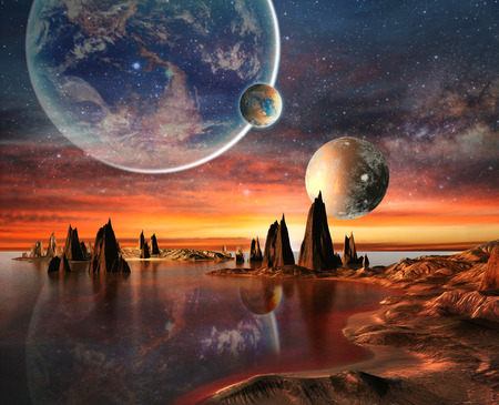 fantasy alien: Alien Planet With planets, Earth Moon And Mountains 3D Rendered Computer Artwork