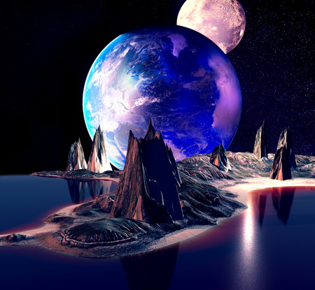 galactic: Alien Planet With Earth Moon And Mountains 3D Rendered Computer Artwork Stock Photo