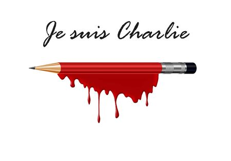massacre: pencil in blood with I am Charlie (french) text