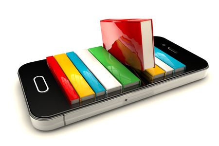 3d render of smartphone with books isolated on white background