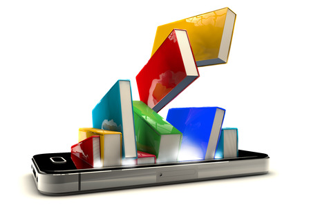 3D-Darstellung von Smartphone mit Bücher isoliert auf weißem Hintergrund Standard-Bild - 37592075