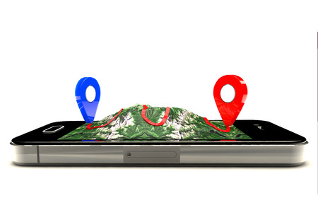 modern black glossy touchscreen smartphone with GPS navigation application and group of pushpins on world map Stockfoto