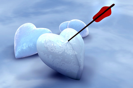 wounded heart: Ice hearts pierced by arrow