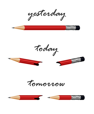 yesterday: Red pencil with words tomorrow, today and yesterday