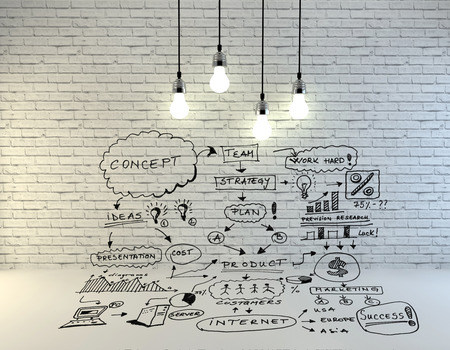 bric: drawing business concept on wall Stock Photo