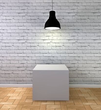 art materials: 3d Illustration,white brick room with podium and lamp Stock Photo