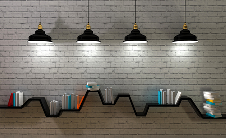 3d render of minimalist shelf, modern art, minimalist design. photo