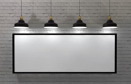 ladrillo: cartel marco en blanco en la habitación con la lámpara del techo