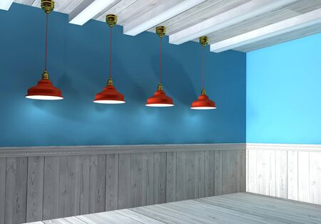 3d Illustration, interior wall illuminated by lamps above illustration