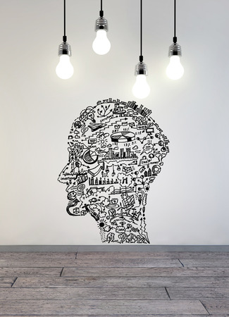 education success: Business drawing in shape of man head