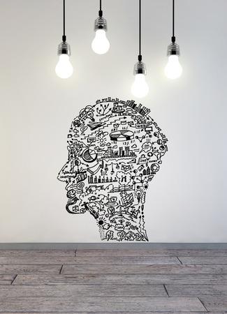 Business-Zeichnung in Form des Menschen Kopf Standard-Bild - 37591886