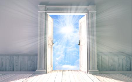 Renderizado en 3D de la sala vacía, con puerta abierta