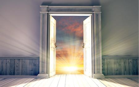 open doors: Renderizado en 3D de la sala vacía, con puerta abierta