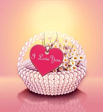 flower basket: flower basket with heart shape label