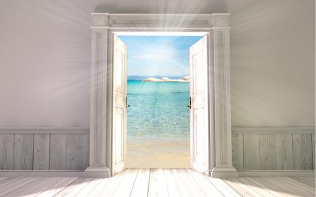 3 d レンダリングと空の部屋のドアを開けた