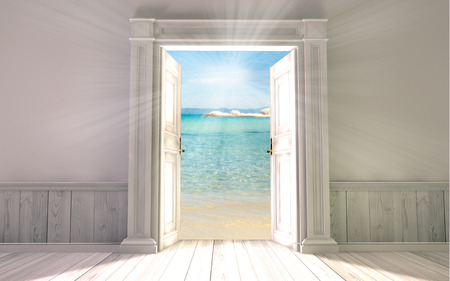 open gate: 3d rendering the empty room with opened door Stock Photo