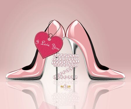 pink girl: pair of shoes with heart label Stock Photo