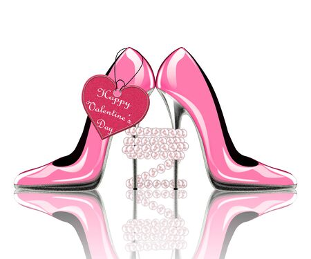 wedding accessories: pair of shoes with label, symbol for wedding, engagement, valentine
