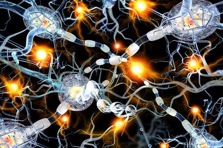 Qualitativ hochwertige 3D-Darstellung von Nervenzellen, Konzept für Neurologische Erkrankungen, Tumoren und Gehirnchirurgie. Standard-Bild - 37591845