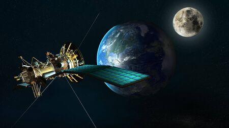 orbiting: satellite orbiting the earth
