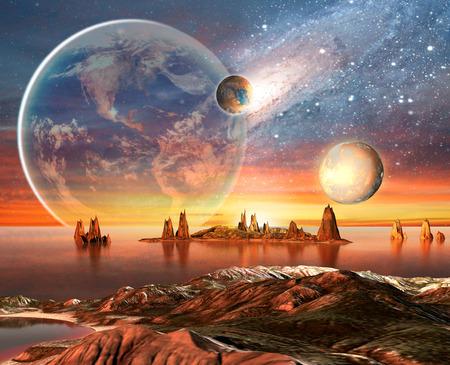 행성, 지구 달과 산 3D 렌더링 컴퓨터 아트 워크와 외계 행성