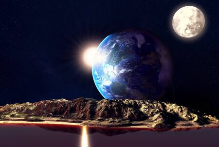 3d image: Alien Planet With Earth Moon And Mountains . 3D Rendered Computer Artwork. Elements of this image furnished by NASA Stock Photo