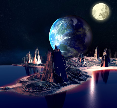 desolation: Alien Planet With Earth Moon And Mountains 3D Rendered Computer Artwork Stock Photo