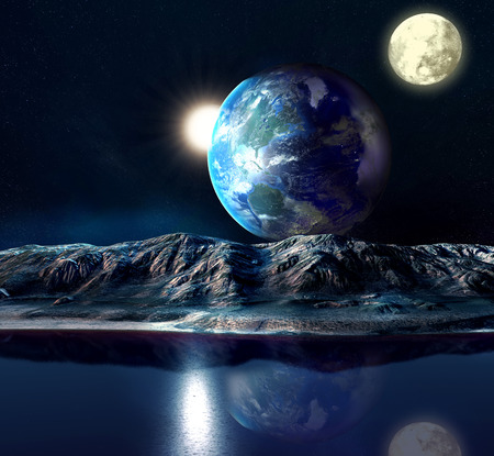 desolation: Alien Planet With Earth Moon And Mountains . 3D Rendered Computer Artwork. Elements of this image furnished by NASA Stock Photo