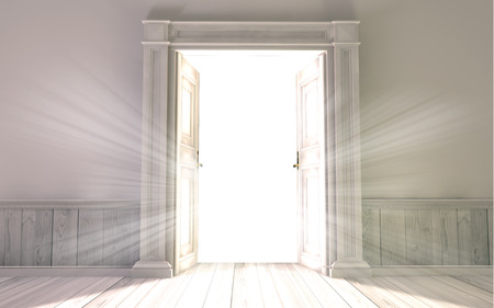 3d rendering the empty room with opened door 스톡 콘텐츠