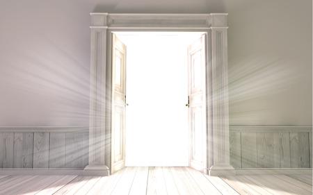 puertas abiertas: Renderizado en 3D de la sala vacía, con puerta abierta
