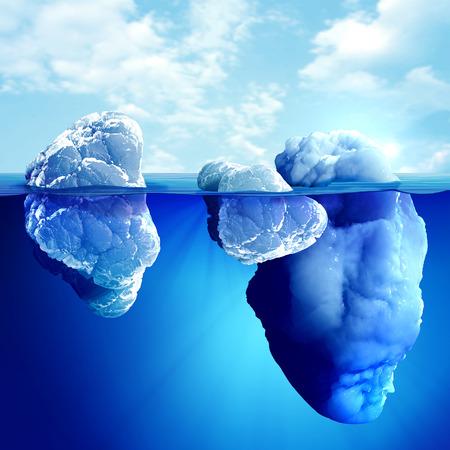배경에 아름 다운 투명한 바다와 빙산의 수중보기 스톡 콘텐츠
