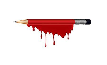 massacre: pencil in blood  Stock Photo