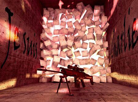 fusil de chasse: Rouge d�construit chambre avec fusil et je suis Charlie texte (fran�ais) Banque d'images