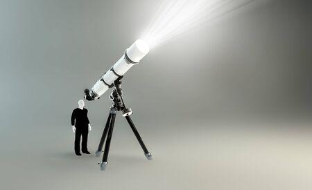 man looking at sky: Man  looking through a telescope Stock Photo