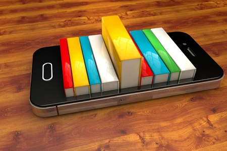 bookshelf digital: 3d render of smartphone with books isolated on wooden background