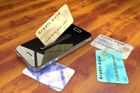 Credit Cards and mobile phone Archivio Fotografico
