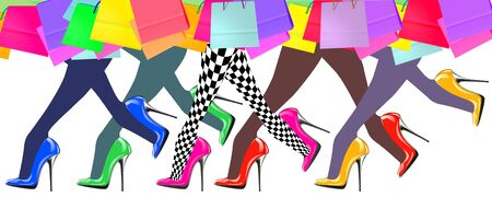 woman legs: woman legs with high heel shoes and shopping bags, isolated on white background Stock Photo