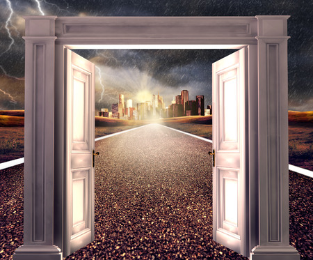 open gate: 3d rendering, opened door on empty road towards a distant city