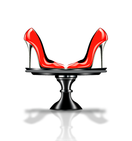 high heel shoes: Elegant red, high heel shoes on platter Stock Photo