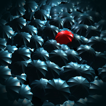 special individual: Standing out from the crowd concept with umbrellas