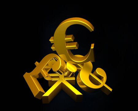financial symbol: Golden currency euro symbol rising over a pile of Pound,US Dollar,Yen.Concept for financial power Stock Photo
