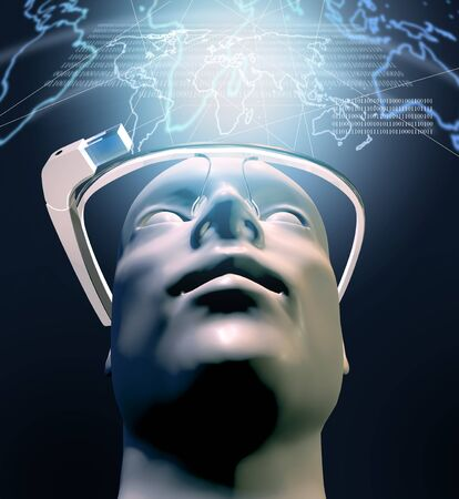 augmentation: 3D rendering of man with  wearable computer technology with an optical headmounted display original design glasses